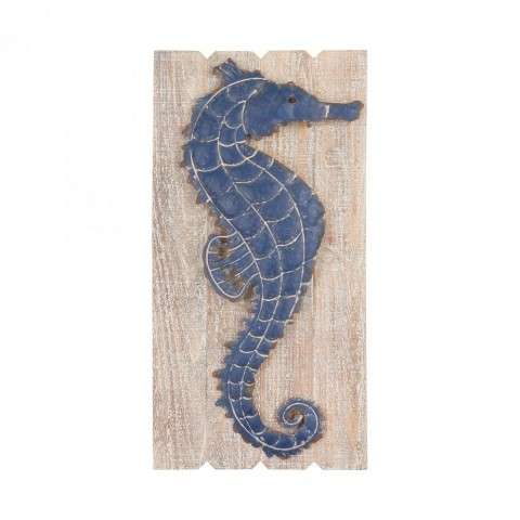 Jolly Harbour Wall Decor in Washed Woodtone w/Navy Blue