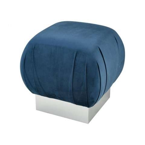 Zanzibar Stool In Navy Velvet With Silver