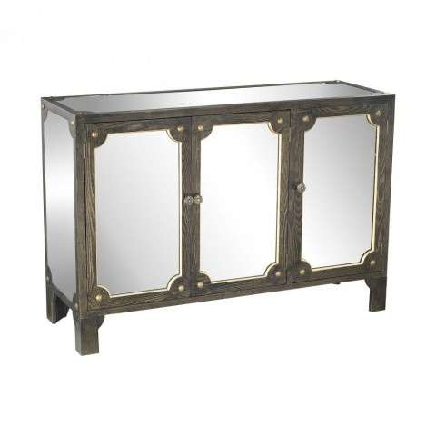 Jules Mirrored Cabinet in Black Stain w/Gold Accents w/Clear Mirror