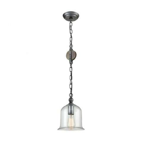 Uther Pulley Pendant In Pewter - Clear Glass And Wood With Burnt Oak