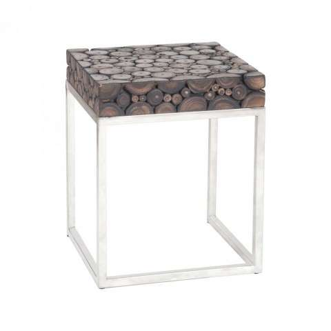 Nutela Accent Table in Natural Woodtone w/Bronze Iron