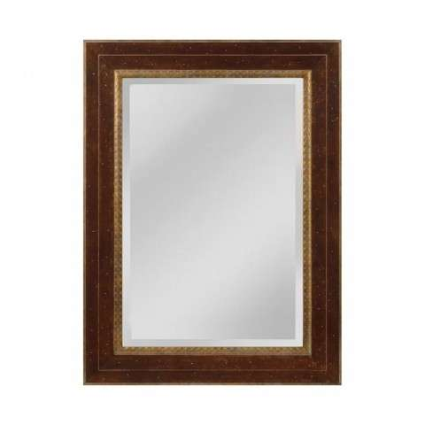 Darcey Wood Frame Mirror In Walnut And Roman Gold - Large In Roman Gold