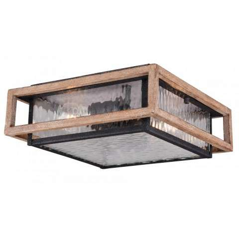 "Modoc 12"" Outdoor Flush Mount Textured Dark Bronze/Distressed Oak"
