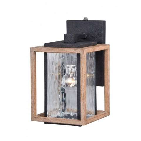 "Modoc 7"" Outdoor Wall Light Textured Dark Bronze/Distressed Oak"