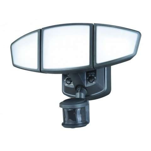 Omega Dualux 3L Motion Sensor Security Light Charcoal