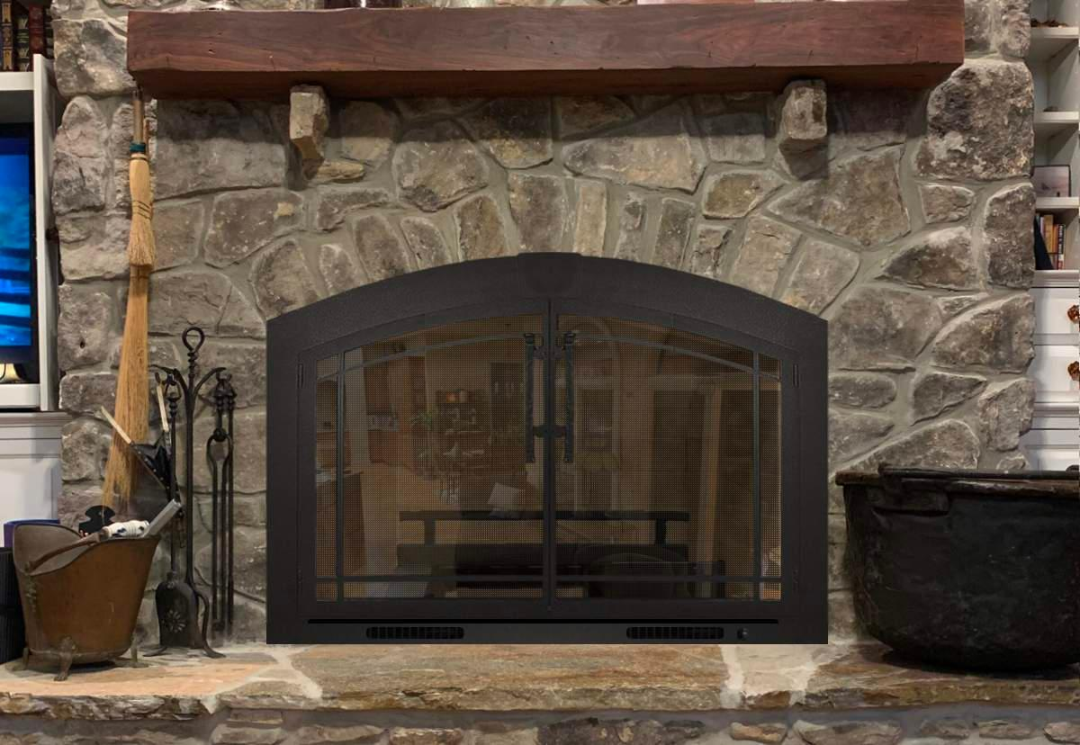 Fireplace Heater Grate with Glass Doors