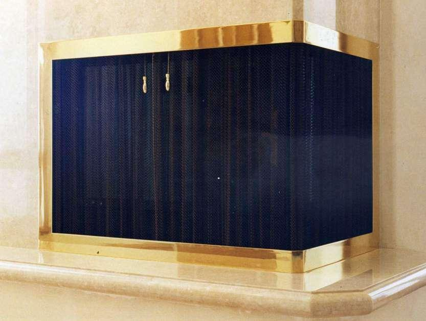 Corner Fireplace Screen in Solid Brass